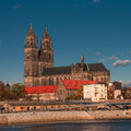 Magnificent Cathedral of Magdeburg at river Elbe, Germany Stock Image