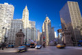 Magnificent mile in chicago michigan avenue bridge and il usa Royalty Free Stock Image