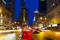 Magnificent mile traffic michigan avenue and with at night chicago il usa Stock Photo