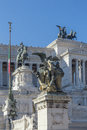 Magnificent statues at the Monument of Victor Emmanuel II at Piazza Venezia in Rome Royalty Free Stock Photo