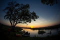 Magnificent view from the camp at sunset, deep inside  Okavango Delta, Botswana. Royalty Free Stock Photo