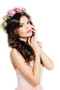 Magnificent Woman with Flowers Wreath Isolated. Royalty Free Stock Photo