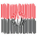 Magnified black and red bar code Royalty Free Stock Images