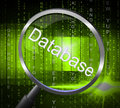 Magnifier databases shows byte magnify and searching representing dataflow computing Royalty Free Stock Image