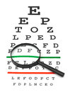 Magnifier on eyesight test chart isolated white background Royalty Free Stock Photos