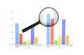 Magnifier glass and charts Royalty Free Stock Images