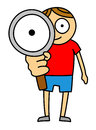 Magnifier kid Royalty Free Stock Photo