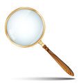 Magnifier magnifying glass retro with wooden handle and golden rim on white background Stock Photography
