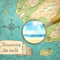 Magnifier Showing Beautiful Nature on the Old Map Royalty Free Stock Photo