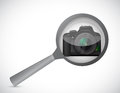 Magnify glass and camera illustration design over a white background Stock Photography