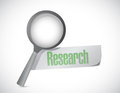 Magnify research sign illustration design over a white background Stock Image