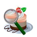Magnifyer and a cake vector illustration of magnifying glass box of antidepressant pills Royalty Free Stock Image