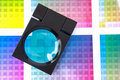 Magnifying Glass on Color Swatches - Cyan Royalty Free Stock Images