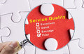 Magnifying glass focusing on Poor evaluation of Service Quality