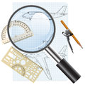 Magnifying glass icon drawing aircraft vector illustration Royalty Free Stock Photos