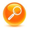 Magnifying glass icon glassy orange round button