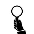 Magnifying glass icon holding in hand man. Royalty Free Stock Photo