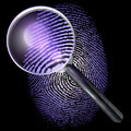 Magnifying glass over dot grid fingerprint showing natural uv lit made of d rendering ultraviolet lighting Royalty Free Stock Images