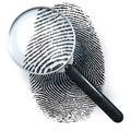 Magnifying glass over finger print