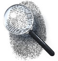Magnifying glass over grid fingerprint made of one and zero d rendering Royalty Free Stock Photos