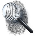 Magnifying glass over grid fingerprint showing natural made of one and zero d rendering Stock Photo