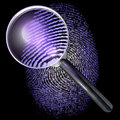 Magnifying glass over grid fingerprint showing natural uv lit made of one and zero d rendering ultraviolet lighting Stock Photography