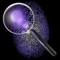 Magnifying glass over grid fingerprint uv lit made of one and zero d rendering ultraviolet lighting Stock Image