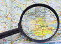 Magnifying glass over the map of London Stock Photo