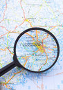 Magnifying glass over Stocholm, Sweden map Stock Photo
