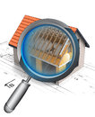 Magnifying glass roof construction detail illustration Stock Photography