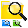 Magnifying glass searching folder icon on yellow blue and green color folders infromation technology concept Stock Photography