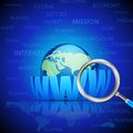 Magnifying glass searching www vector illustration of on earth Royalty Free Stock Photos