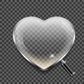 Magnifying glass in the shape of the heart on transparent background