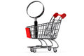 Magnifying glass & shopping trolley Royalty Free Stock Photos