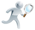 Magnifying glass silver person running along looking through searching for something Royalty Free Stock Photography