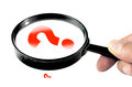 Magnifying glass with small and big question mark Royalty Free Stock Photo