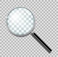 Magnifying glass with steel frame isolated. Realistic Magnifying glass lens for zoom on transparent background. 3d