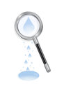 Magnifying glass with waterdrops illustration of and puddle isolated Stock Image