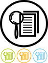 Magnifying lens and document - Vector icon Royalty Free Stock Image
