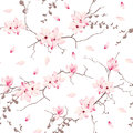 Magnolia blossom trees seamless vector pattern Royalty Free Stock Photo