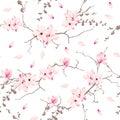 Magnolia blossom trees seamless vector pattern Royalty Free Stock Photo