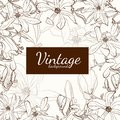 Magnolia flower brown sepia outline greeting card on beige background.