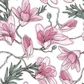 Magnolia flowers on a twig. Seamless floral pattern. Hand drawn. Good for wallpaper, textile design.