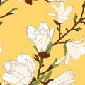 Magnolia tree branch flowers bloom blossom buds. Seamless botanical floral pattern. Bright yellow background.