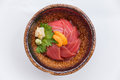 Maguro-Don Japanese Rice Bowl Topping with Raw Tuna Topping with Sea Urchin Served with Wasabi and Prickled Ginger Royalty Free Stock Photo