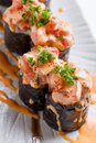 Maguro Sushi Roll Topping with MaguroBlufin Tuna, Ebiko, Scallion and Sauce Royalty Free Stock Photo