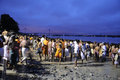 Mahalaya in kolkata october people flocking the ghat to offer prayers to their ancestors at the end of the pitru paksha at the Stock Photo
