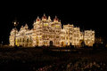 The maharaja palace in mysore india at night with lights Stock Images