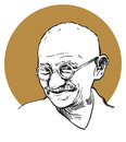 Mahatma ghandi a portrait of the indian peace revolutionist Royalty Free Stock Images
