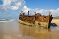 Maheno shipwreck the mile beach fraser island australia Royalty Free Stock Images